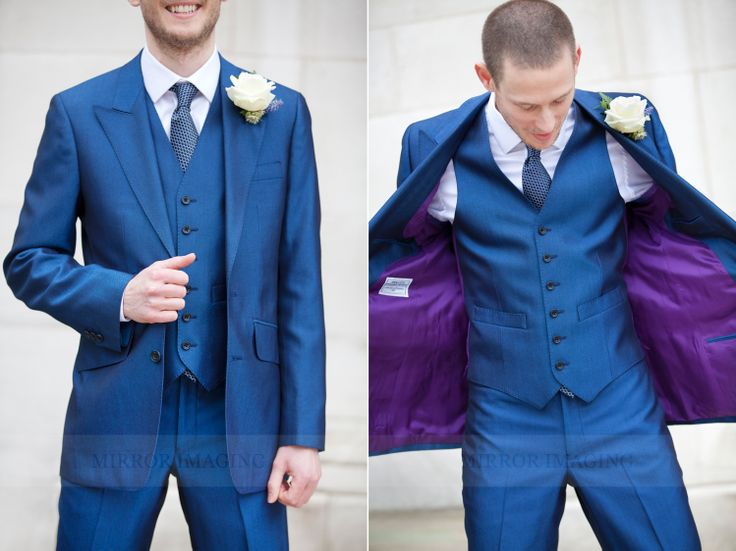 Bright blue suit and contrasting lining! Mirror Imaging Photography: Louise & Alex's Nottingham University Wedding