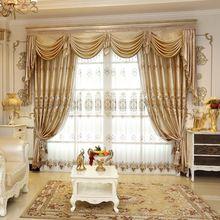 Bordado de Luxo Janela Cortinas Para Sala de estar/Quartos/Hotel Personalizado Cortinas cáqui + Tule Casa Mobiliário/Tratamento(China (Mainland))