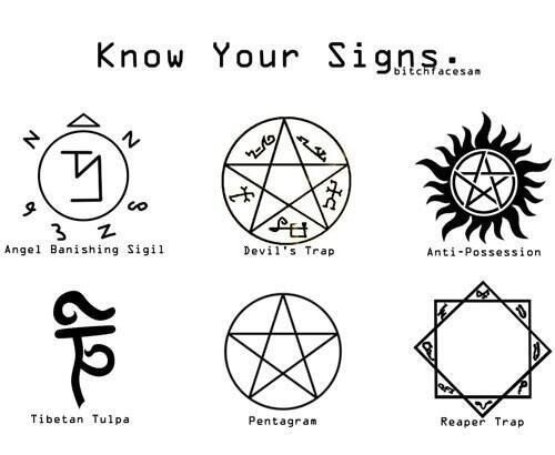 Supernatural Signs. Very cool! These would be awesome on a t-shirt or even one as a tattoo! :D -- I want to get the anti possession sign tattoos
