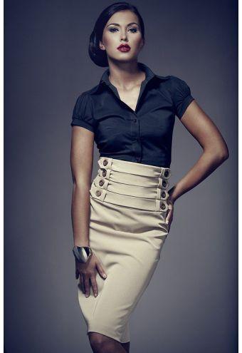 Jupe droite noire, taille haute, intérieur doublé - Mademoiselle Grenade -