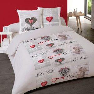 housse de couette clef du bonheur 220x240 cm en flanelle. Black Bedroom Furniture Sets. Home Design Ideas