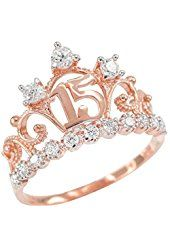 10k Rose Gold CZ-Studded Crown Sweet 15 Anos Quinceanera Ring
