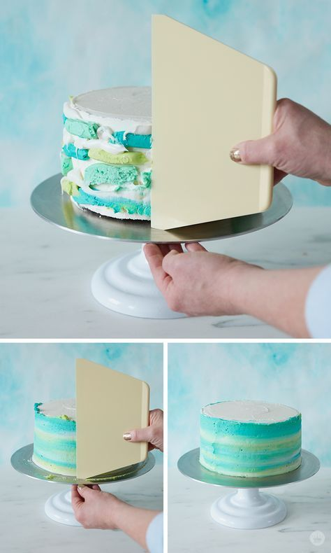 This modern ombre Easter cake features a bunny topper and edible Easter grass. U…