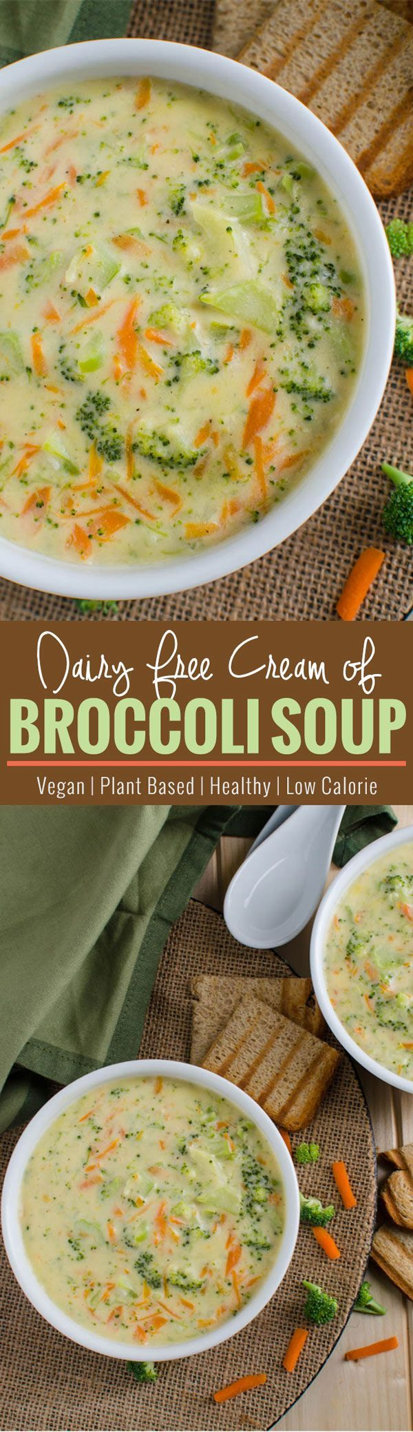 Healthy broccoli soup - prepared using all healthy & clean ingredients. It is also vegan, plant based and a low calorie soup. | watchehatueat.com