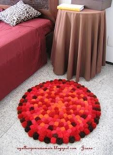Como hacer alfombras con pompones | adornos fieltro
