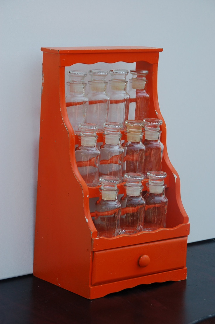 Vintage Upcycled Orange 3 Tier Spice Rack With Glass Bottles Retro Kitchen  Decor With Shelf For Small Knick Knack Storage