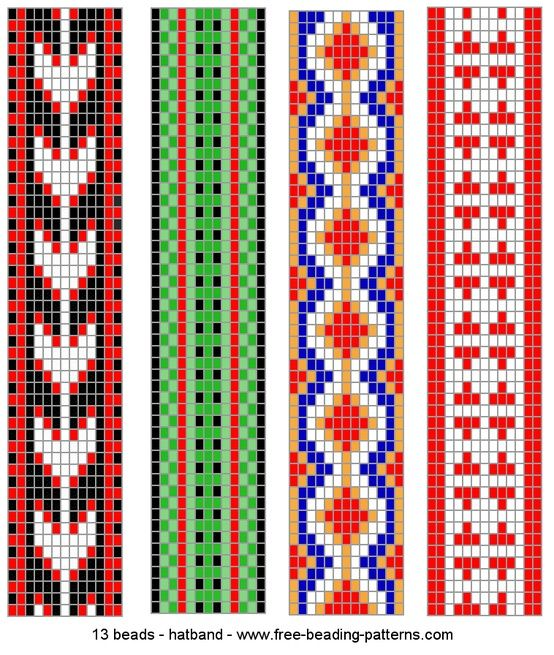 Free Patterns: Loom Beads, Beads Bracelets, Beads Loom, Hatband Loom Beadwork 011 Gif, Beads Patterns, Bracelets Patterns, Loom Bracelets, Loom Patterns, Tribal Patterns