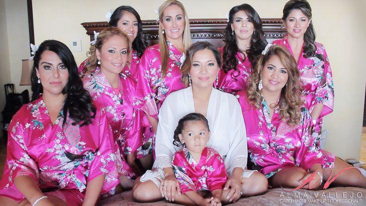 Bridal party at Villa de los Sueños Pedregal in Cabo San Lucas, Mexico  Cabo wedding beauty services by Alma Vallejo Cabo Hair & Makeup Professionals. #wedding #makeup #makeupartist #beauty #love #bridetobe #wedspiration #destinationwedding #cabo #cabosanlucas #mexicowedding #loscaboswedding #almavallejo #cabomakeup #weddings #bride #bridal #bridalmakeup #bridalhair #hairstyle #airbrush #bridesmaids #bridalparty #novia #flowers