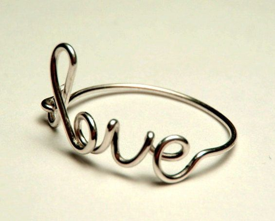 sterling silver love ring  love script ring Special by keoops8, $10.00
