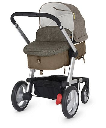 Suitable from birth, the versatile Mothercare Genie will convert from a pram to pushchair, a travel system and as your family grows add the Genie second seat (sold separately) to create a handy tandem pushchair.