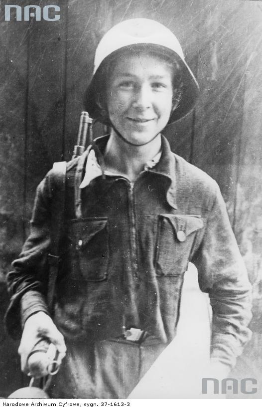Stefan Tomaszewski, 11 year old Polish volunteer soldier during the Warsaw Uprising, Warsaw, Poland, August 1944.