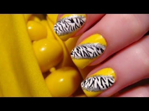 Bright Yellow Zebra Nails/sub. leopard print for zebra stripes for a diff. look