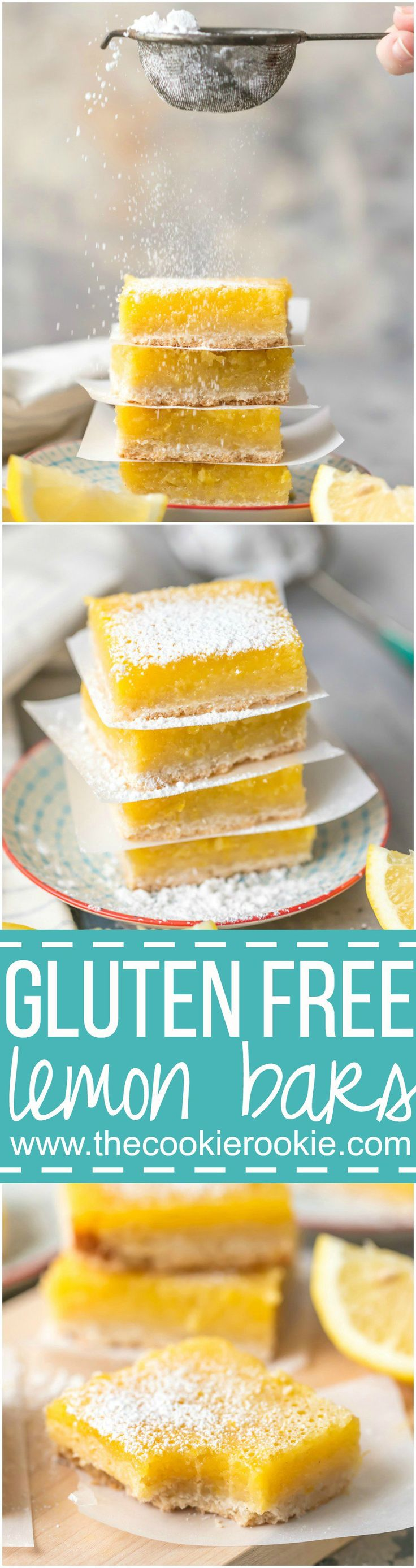 These GLUTEN FREE LEMON BARS are the easiest and best lemon bar recipe, and they just so happen to be gluten free! SO DELICIOUS! Thick and creamy lemon squares for the win. via @beckygallhardin