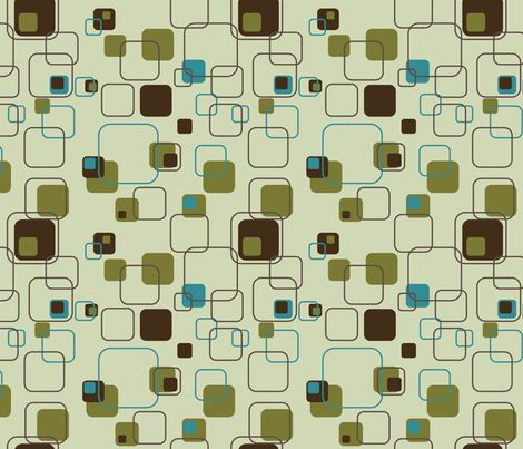 Mid Century Modern Retro Squares Teal Fabric By Studiofibonacci On Spoonflower Custom Fabrics In 2018 Pinterest