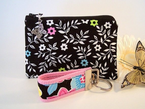 Zipper Pouch and Mini Key Fob Gift Set in by MyButterflyDreamz, $10.50: Gifts Sets, Fobs Gifts