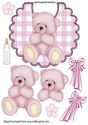 Cute pink teddy on a gingham bib with bottle A4 on Craftsuprint - Add To Basket!