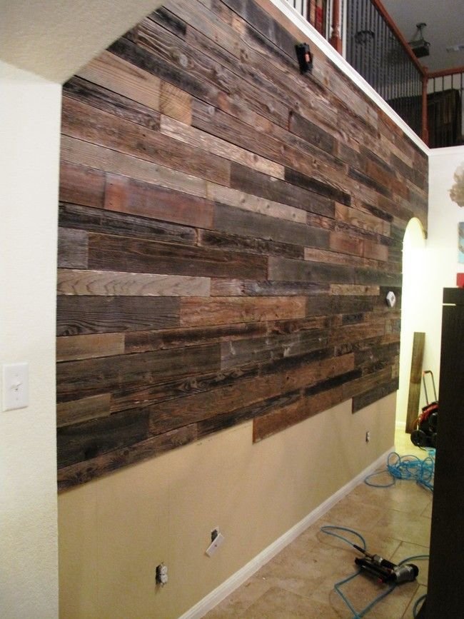 These Guys Used Reclaimed Wood To Make A Beautiful Accent Wall