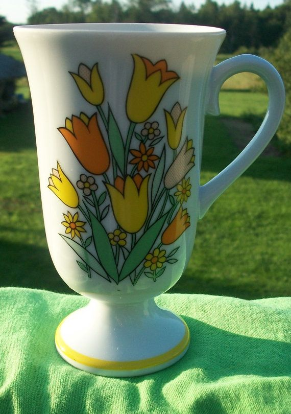 Vintage Coffee Cup Retro Orange And Yellow by NorthOfOrdinary, $5.50