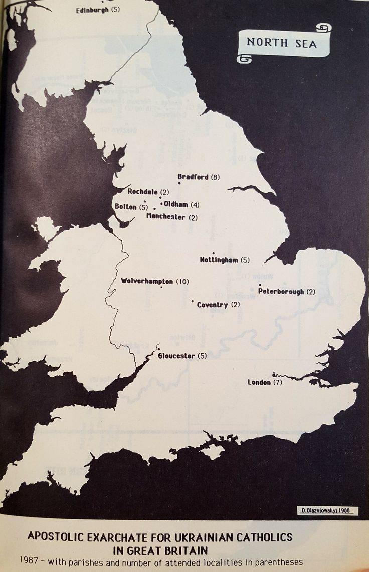 A map showing the parishes of the Apostolic Exarchate for Ukrainian Catholics in Great Britain. Source: Dmytro Blazejowskyj, Schematism of the Ukrainian Catholic Church: A Survey of the Church in Diaspora (Synod of Ukrainian Catholic Bishops, Rome: 1988)