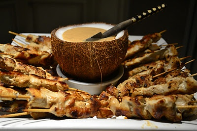 A chicken satay with coconut milk and peanut butter sauce, It's great for entertaining. The sauce it's completely delicious.