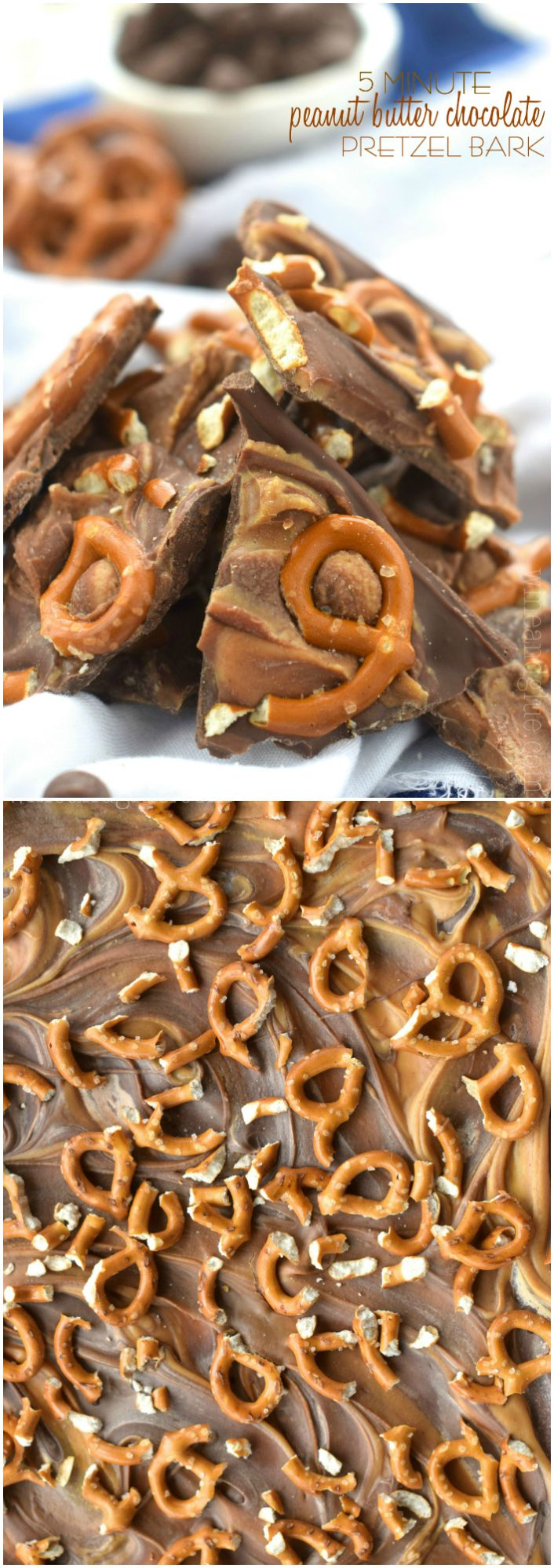 This NO BAKE PEANUT BUTTER CHOCOLATE PRETZEL BARK will only take you FIVE MINUTES to make!