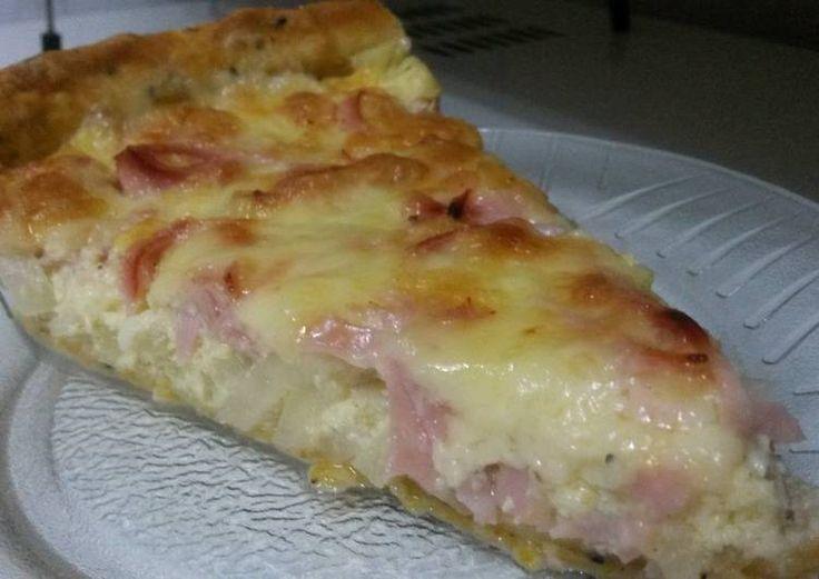 Tarta de cebolla, jamón y muzzarella