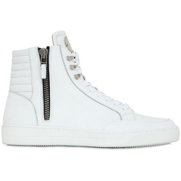 Bi_plus Men Zip-up Leather High Top Sneakers (7,575 PHP) ❤ liked on Polyvore featuring men's fashion, men's shoes, men's sneakers, white, mens hi tops, mens shoes, mens high tops, mens white high tops and mens sneakers