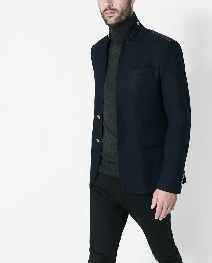 zara man blazer with trimming and buttons future man style pinterest zara man zara. Black Bedroom Furniture Sets. Home Design Ideas