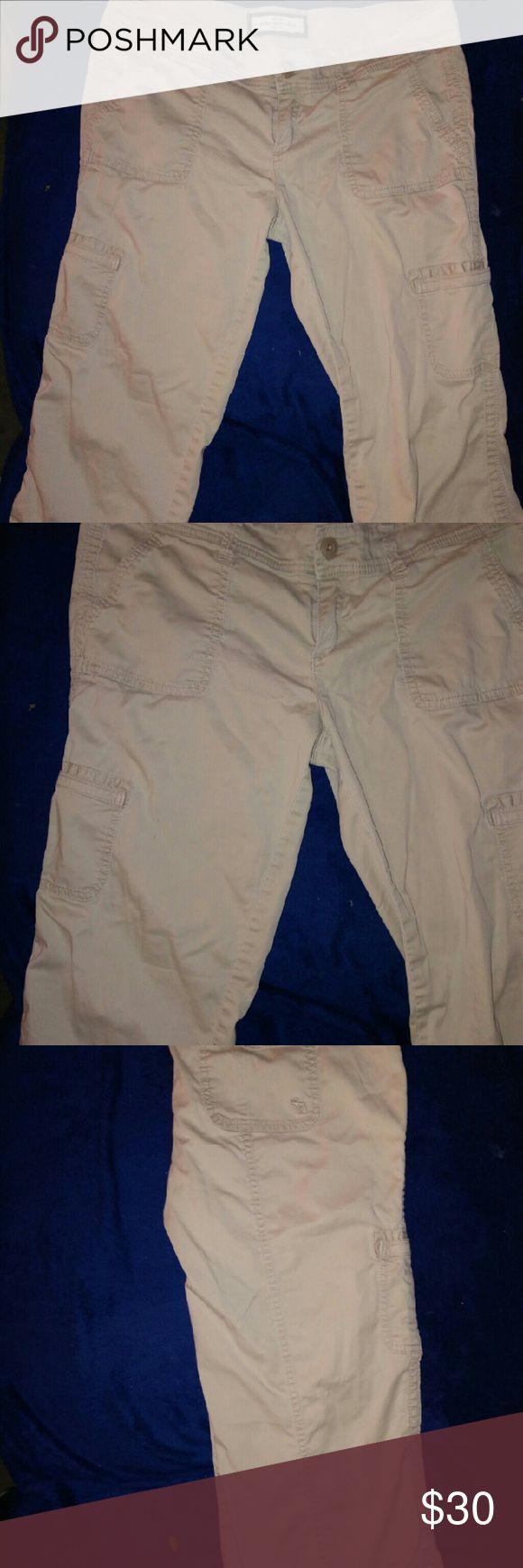 Abercrombie & Fitch khaki capris Abercrombie & Fitch khaki capris cargo style tie waist, cute pockets on sides . Abercrombie & Fitch Pants