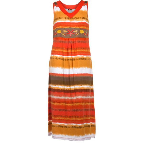 Aprico Orange / Versicolour Plus Size Jersey dress with embroidery (1,995 THB) ❤ liked on Polyvore featuring dresses, orange, plus size, jersey dress, women plus size dresses, v neck dress, plus size dresses and plus size long dresses