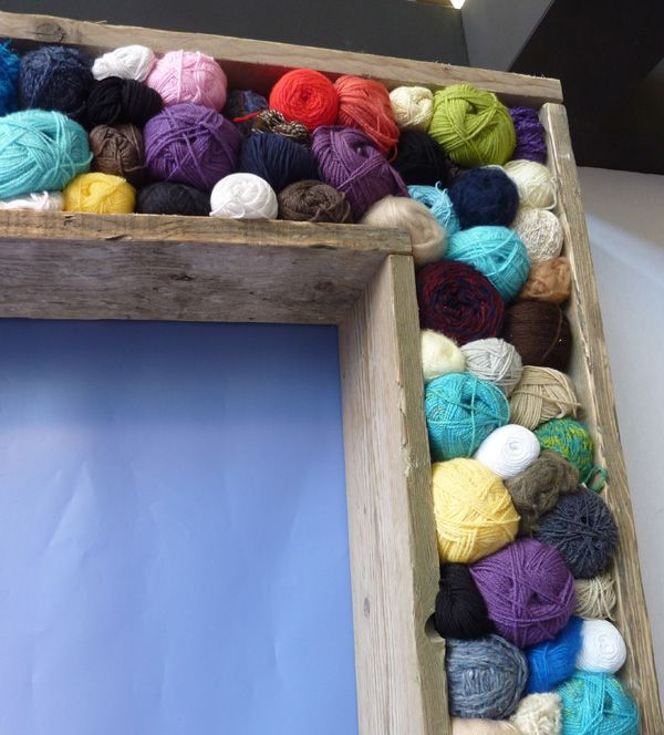 How is this for a decorating idea?!   I love it!!  Talk about a stash-buster!  I love old balls of wool!  A nice way to turn them into simple wall art.  Via Eline Pellinkhof: a designer's journal