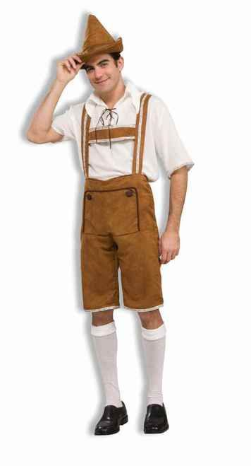 "Hansel Men's Brown Lederhosen Halloween Costume - Yodel-ay-EEE-oooo!!! Get your Oktoberfest on in this awesome Lederhosen costume. It includes the light brown lederhosen, matching hat, and a white lace-up shirt. The lederhosen suspenders have a floral pattern lining them. The same pattern is on the sleeves of the shirt. Perfect for Oktoberfest, ""Around the World"" parties, and Halloween! #bavaria #oktoberfest #yyc #calgary #costume #mens"