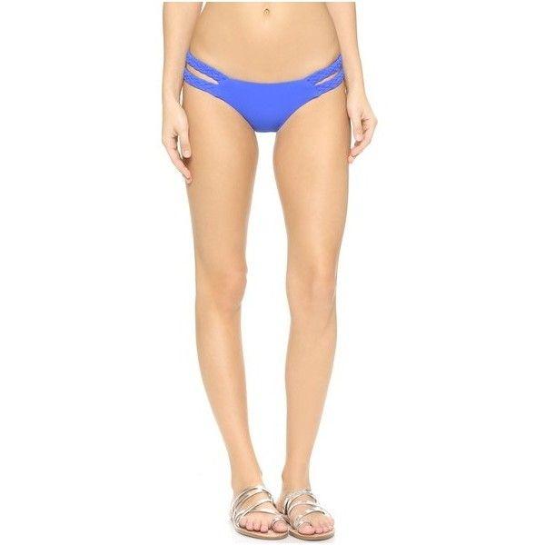 Vitamin A Rocky Barnes x Vitamin A Braid Bikini Bottoms ($100) ❤ liked on Polyvore featuring swimwear, bikinis, bikini bottoms, eco azure blue, cut out bikini bottoms, bottom bikini, low cut bikini, strap bikini and cut-out swimwear
