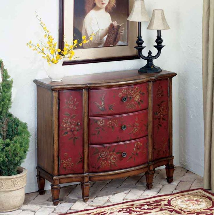 Tuscan french country style decor furniture red sofa entry table buffet cabinet french country - French country table centerpieces ...