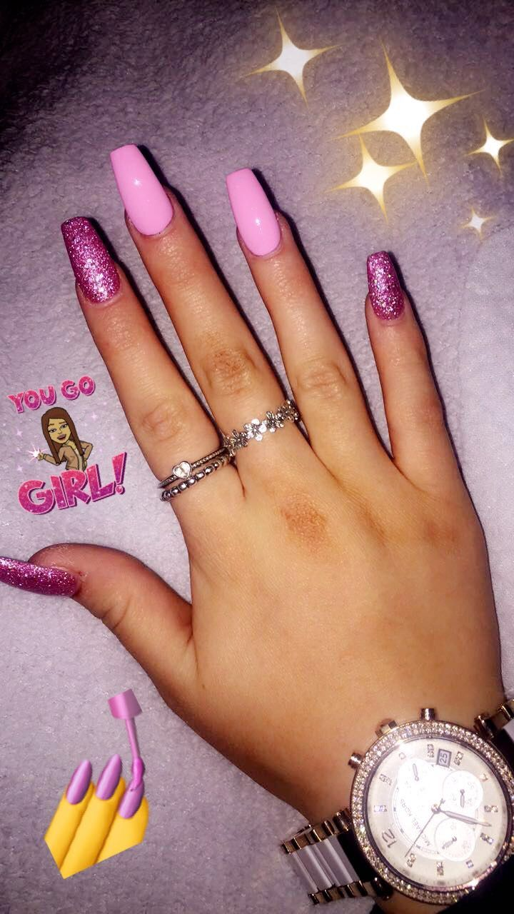 Acrylic nails pink coffin glitter baby pink girly