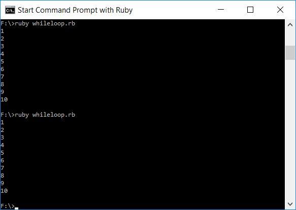 Screenshot of Running Program Code in Ruby (Windows 10).  Taken on 23 February 2017.