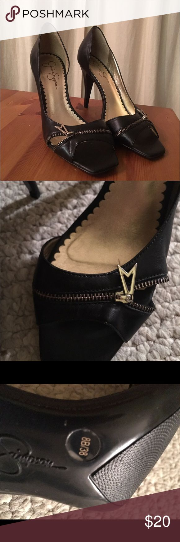 Jessica Simpson Peep Toe Black Pumps Adorable peep toes with super cute zipper detail, really great condition with little wear- fit too tight for me (I wear 8.5/9) Jessica Simpson Shoes Heels