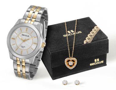 28680LPSVBA2K1 Relógio Feminino Bicolor Seculus Analógico com Pingente e Brincos em Zircônia Ponto d   Guest Club