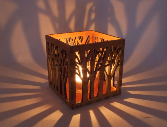 Wood Lanterns Wholesale | Wooden Tea Light Lantern / Holder With Tree Pattern
