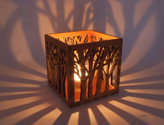 Wood Lanterns Wholesale | Wooden Tea Light Lantern / Holder With Tree Pattern