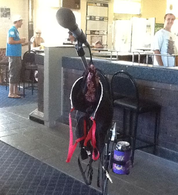 My Tom Jones moment, someone hung a pair of undies and bra on my mike stand... lol