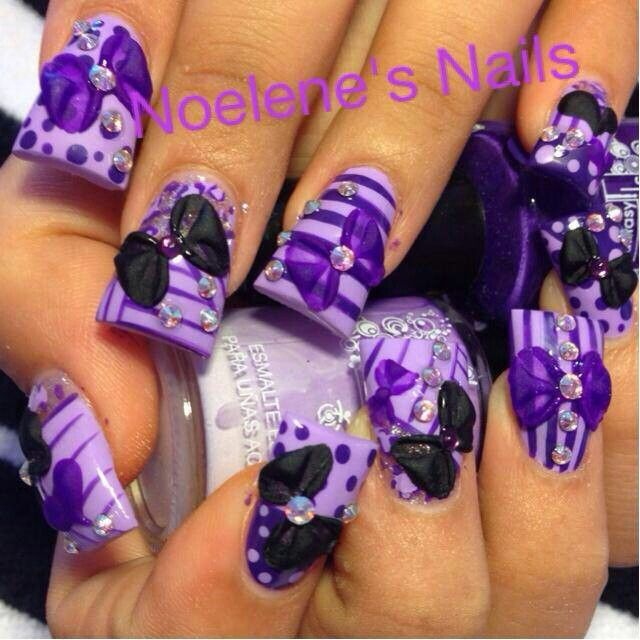 2014 Nail Art Ideas For Prom: Purple Prom Nail Design