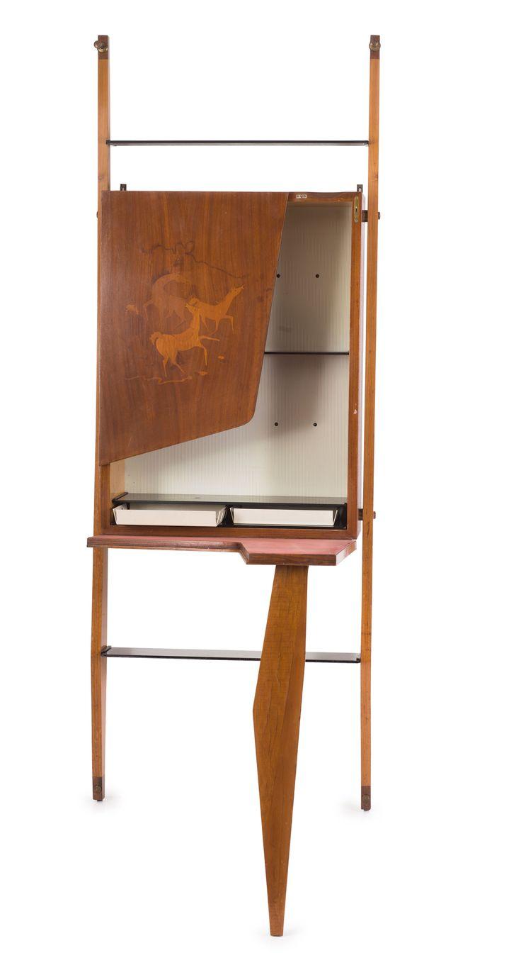 A. Ferri; Inlay Bar Cabinet, 1950s.
