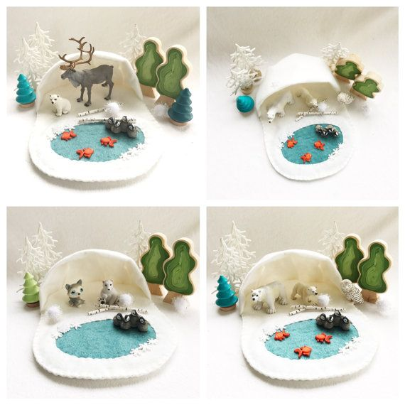 Polar Playscape Play Mat Felt Pretend Open-ended Artic Forest Tundra Fairytale Storytelling Winter Christmas Snowflake small world animal