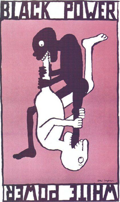 1967 Tomi Ungerer Black Power White Power Poster