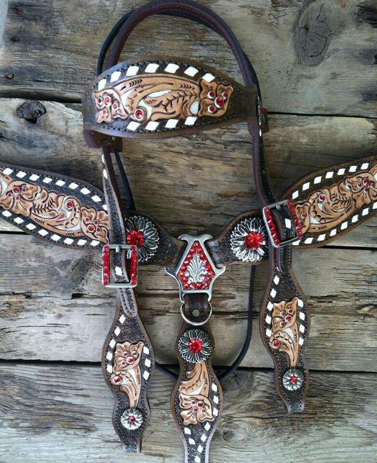 blingmyride.com brown and red floral headstall and breast collar horse tack set