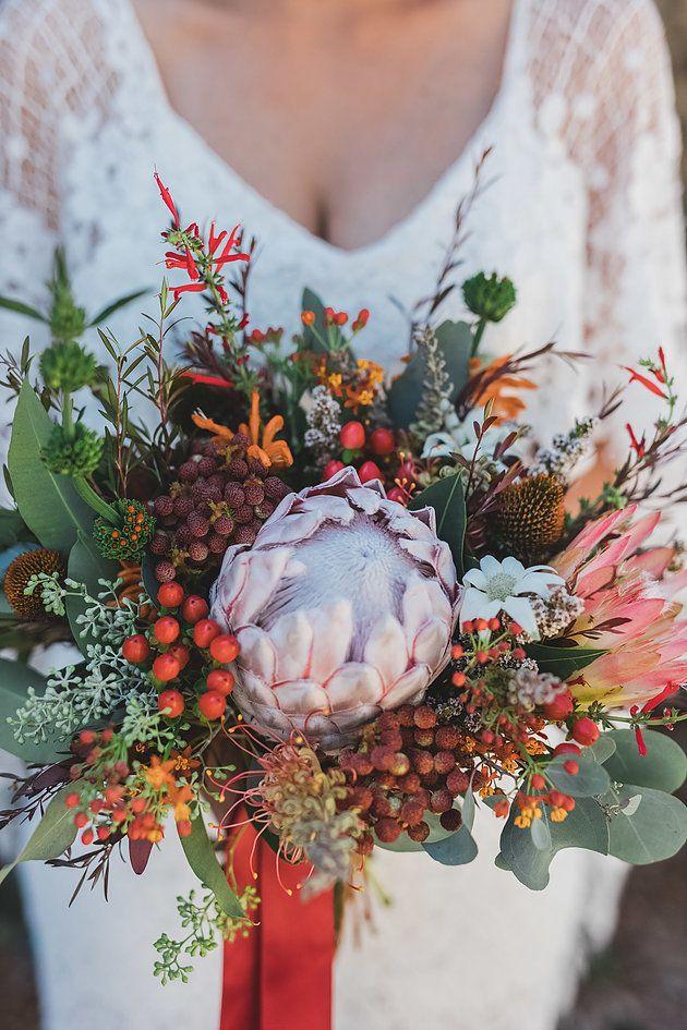Native bridal bouquet   Naomi Rose Floral Design   Bright native flowers   King protea