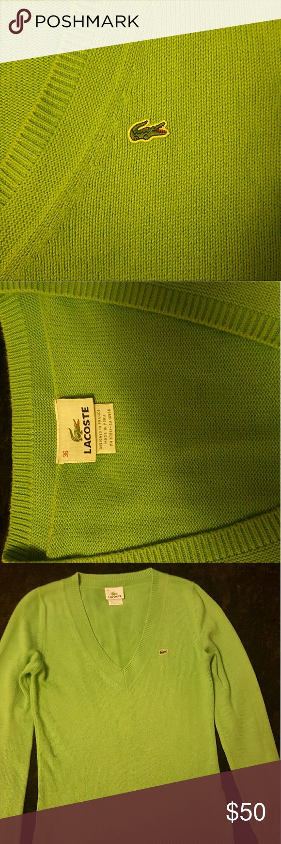 Lacoste Cotton sweater Women's Lacoste sweater in great condition. Picture looks bright green but is more of a pistachio color. Lacoste size 36 equivalent to a size 4. 100% cotton. Lacoste Sweaters V-Necks