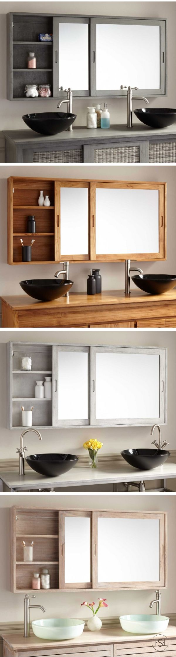"""'Tis the season to get your home organized for the holidays! Give your master bathroom extra storage space with the 55"""" Wulan Teak Medicine Cabinet. It's the most stylish way to store toiletries and bathroom essentials since it comes in a variety of colors and finishes."""