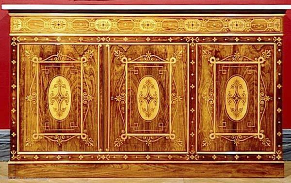 Louis-Philippe style : Georges-Alphonse Jacob-Desmalter (1799 – 1870), Lower section of a bookcase, 1832, Brazilian rosewood and holly-wood veneer, white marble, Musée du Louvre, Paris.
